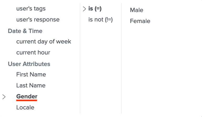 Set up conditions with gender